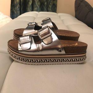 914c47e7d Sam Edelman Shoes - Sam Edelman Oakley Leather Platform Slide Sandal